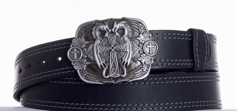Kožené opasky - Kožený černý pásek draci ob2š