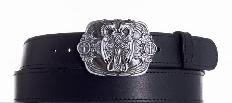 Kožené opasky - Kožený černý pásek draci obč