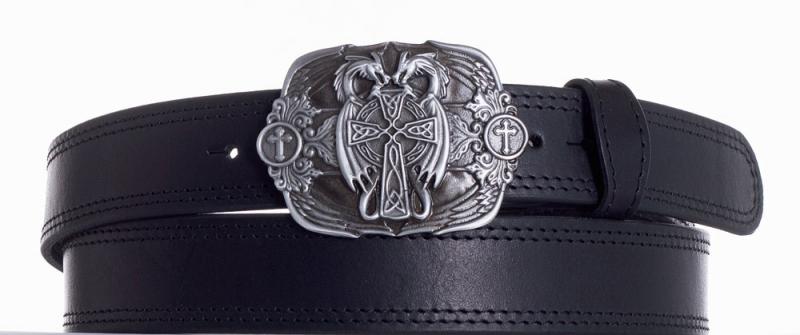 Kožené opasky - Kožený černý pásek draci ob2č