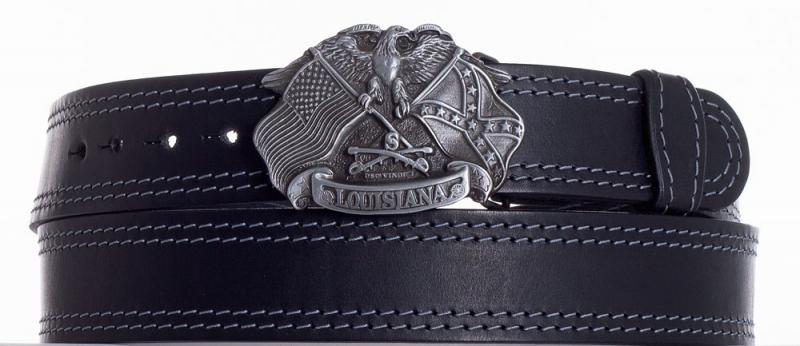 Kožené opasky - Kožený pásek Louisiana prošitý 2ob. š.