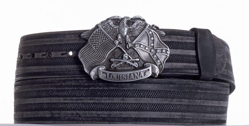 Kožené opasky - Kožený pásek Louisiana proužek br.