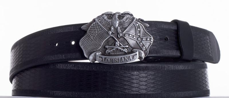 Kožené opasky - Kožený pásek Louisiana vroubek