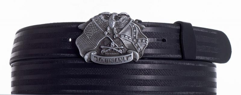 Kožené opasky - Kožený pásek Louisiana proužek