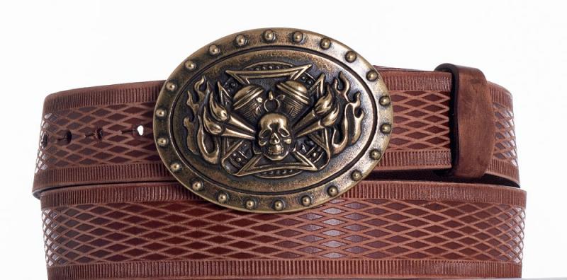 Kožené opasky - Hnědý kožený opasek motor vrb