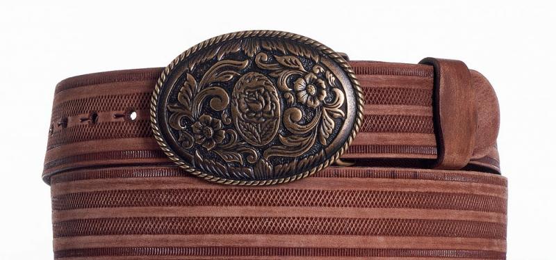 Kožené opasky - Hnědý kožený opasek Růže prb
