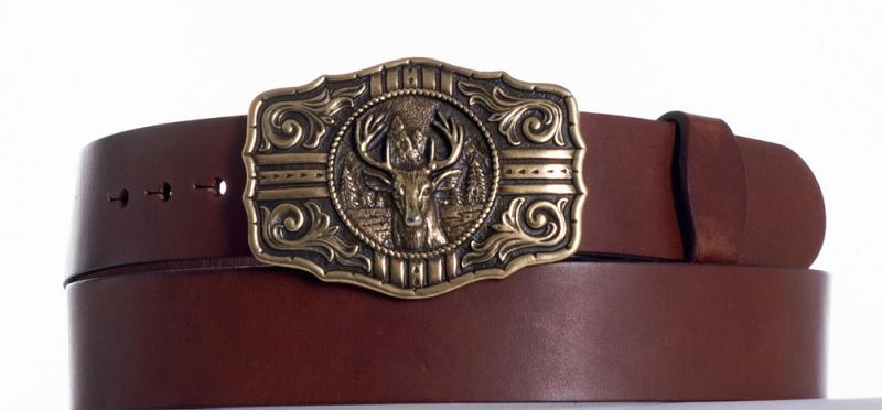 Kožené opasky - Hnědý kožený opasek jelen