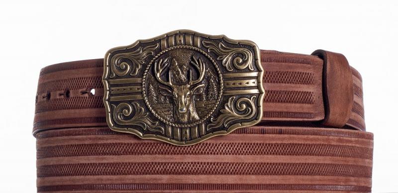 Kožené opasky - Hnědý kožený opasek jelen prb