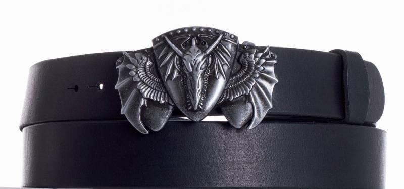 Kožené opasky - Kožený černý pásek drak