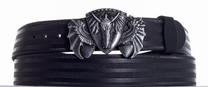Kožené opasky - Kožený černý pásek drak pr.