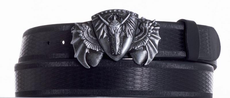 Kožené opasky - Kožený černý pásek drak vr.