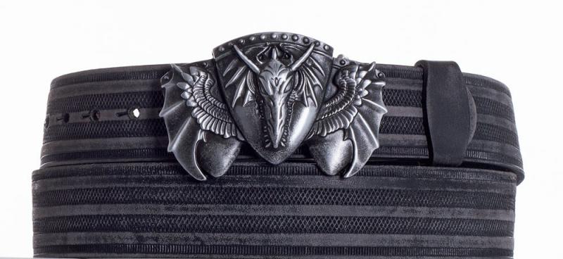 Kožené opasky - Kožený černý pásek drak prb.