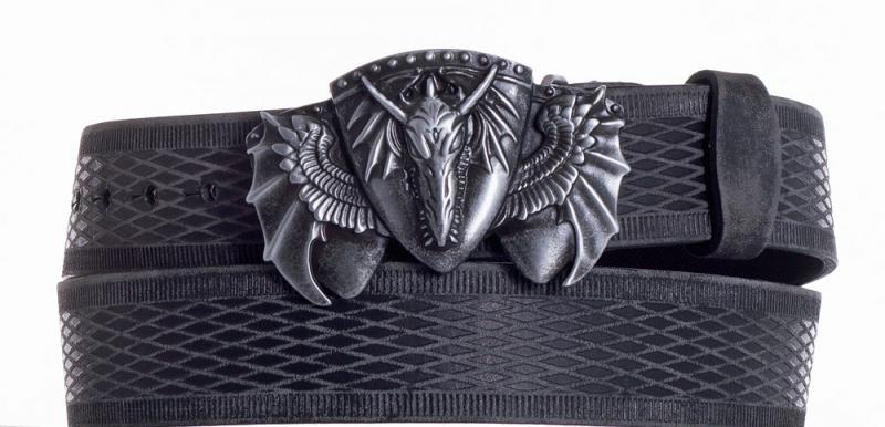 Kožené opasky - Kožený černý pásek drak vrb.