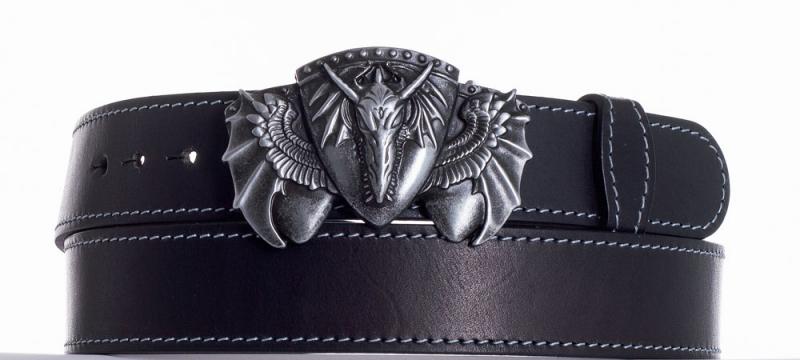Kožené opasky - Kožený černý pásek drak obš