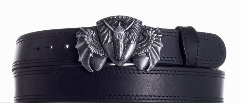 Kožené opasky - Kožený černý pásek drak ob2č