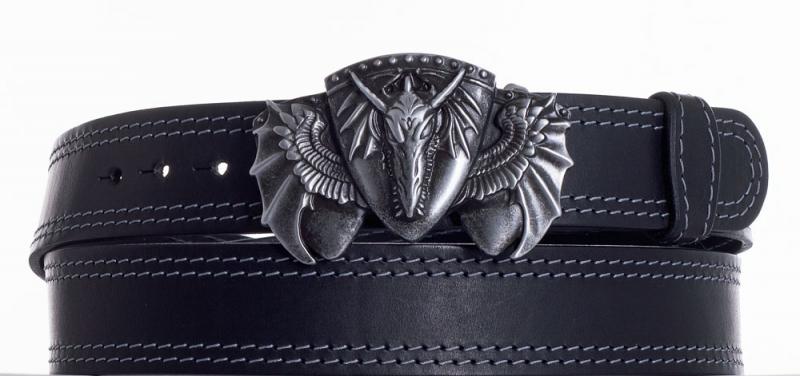 Kožené opasky - Kožený černý pásek drak ob2š