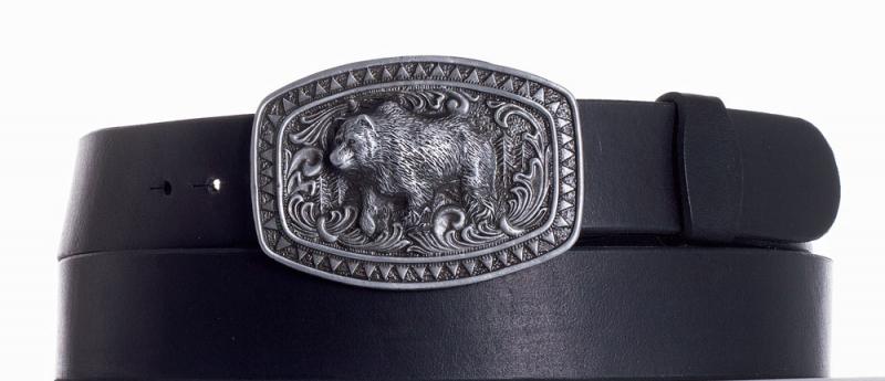 Kožené opasky - Kožený černý pásek medvěd