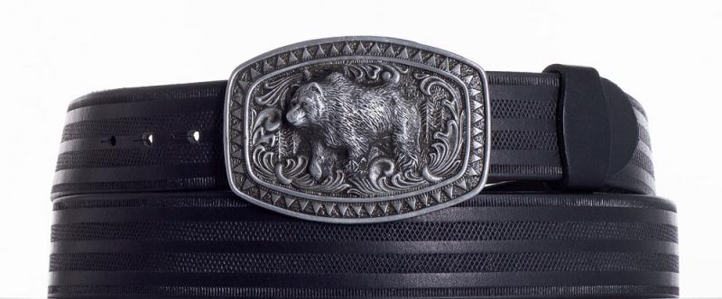 Kožené opasky - Kožený černý pásek medvěd pr