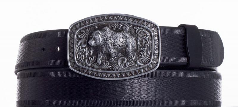 Kožené opasky - Kožený černý pásek medvěd vr