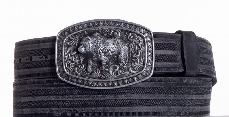 Kožené opasky - Kožený černý pásek medvěd prb
