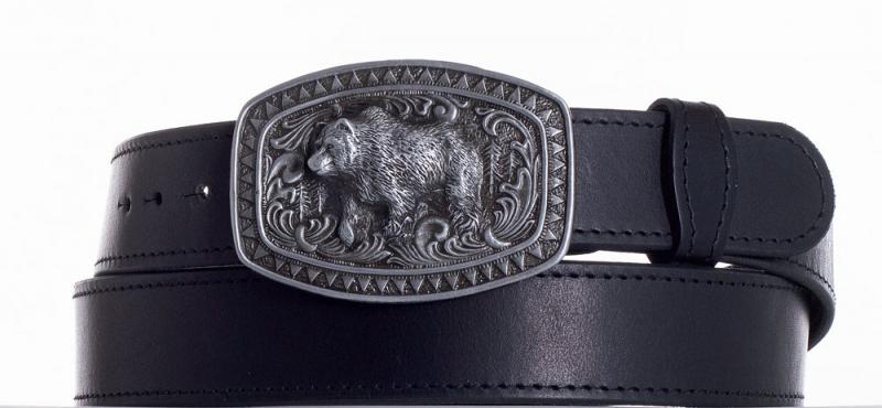 Kožené opasky - Kožený černý pásek medvěd obč