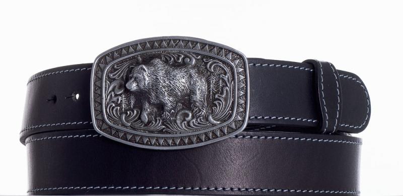 Kožené opasky - Kožený černý pásek medvěd obš