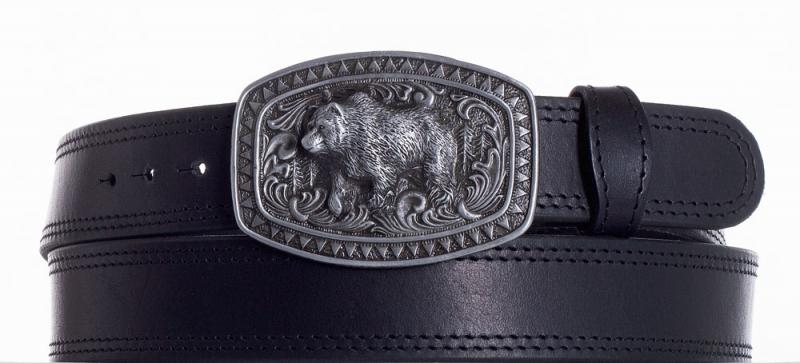 Kožené opasky - Kožený černý pásek medvěd ob2č