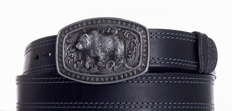Kožené opasky - Kožený černý pásek medvěd ob2š