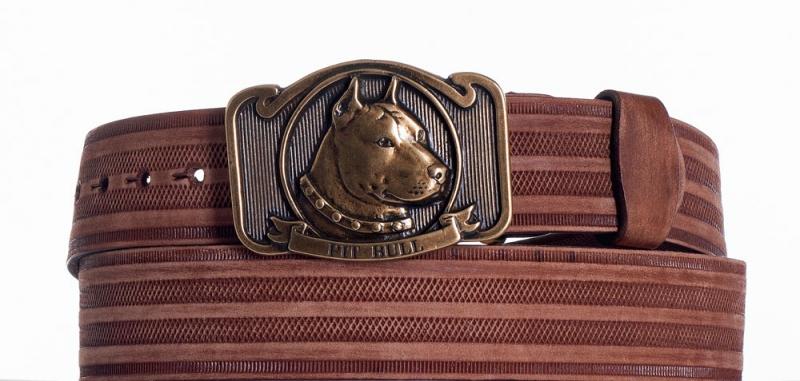 Kožené opasky - Hnědý kožený opasek Pitbull prb