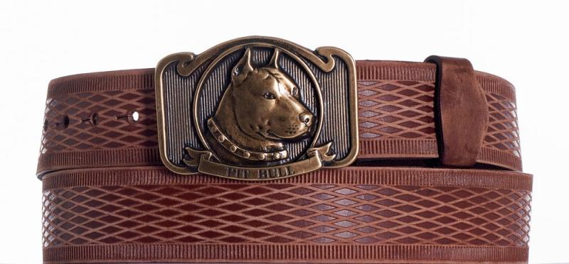Kožené opasky - Hnědý kožený opasek Pitbull vrb