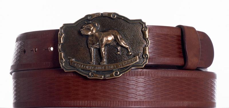Kožené opasky - Hnědý kožený opasek Staffordshire vr
