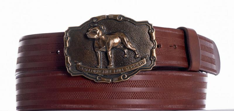 Kožené opasky - Hnědý kožený opasek Staffordshire pr