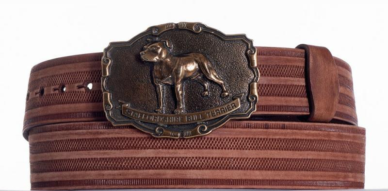 Kožené opasky - Hnědý kožený opasek Staffordshire prb