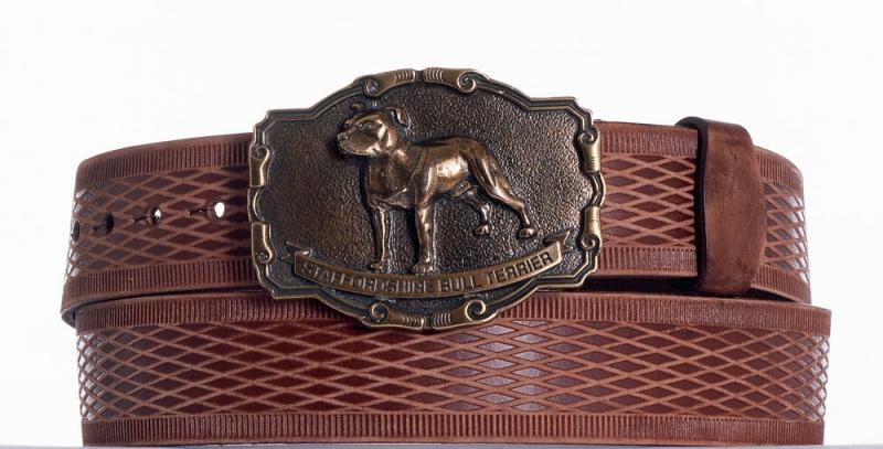 Kožené opasky - Hnědý kožený opasek Staffordshire vrb