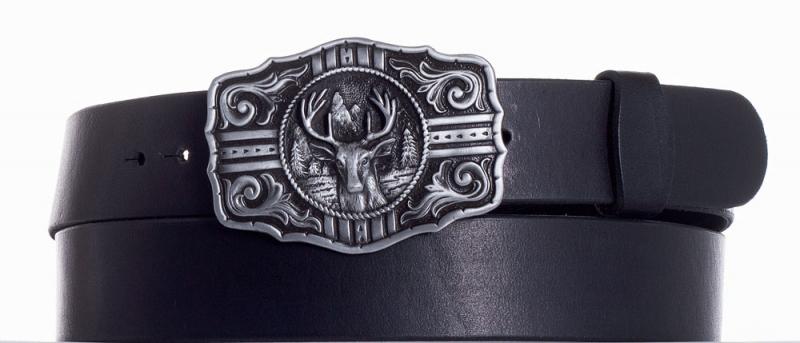 Kožené opasky - Kožený černý pásek jelen