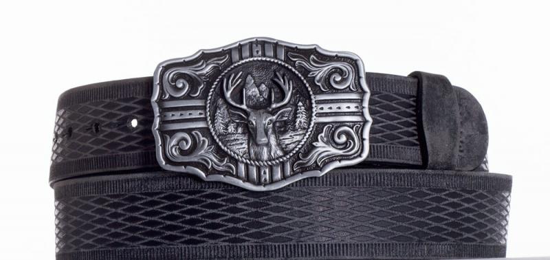 Kožené opasky - Kožený černý pásek jelen vrb.