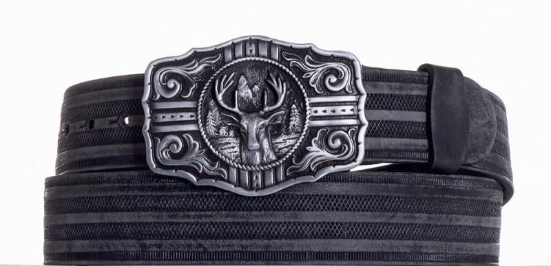 Kožené opasky - Kožený černý pásek jelen prb.