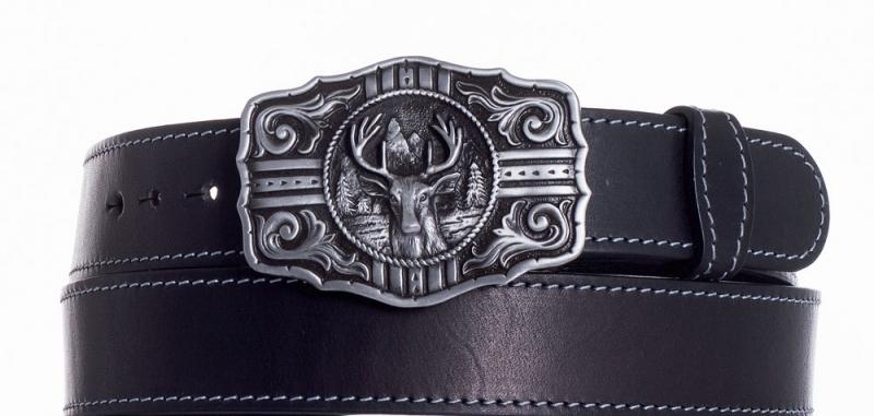 Kožené opasky - Kožený černý pásek jelen obš.