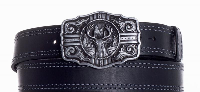 Kožené opasky - Kožený černý pásek jelen ob2š.