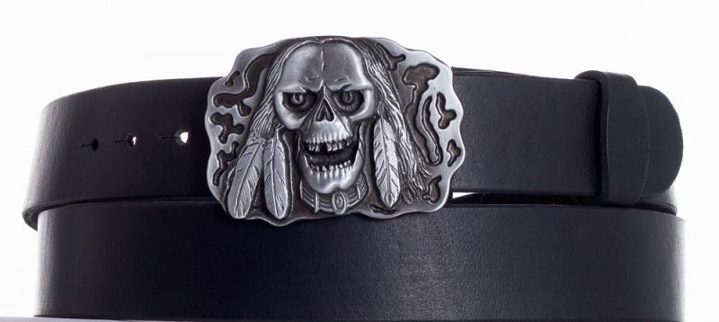 Kožené opasky - Kožený pásek lebka