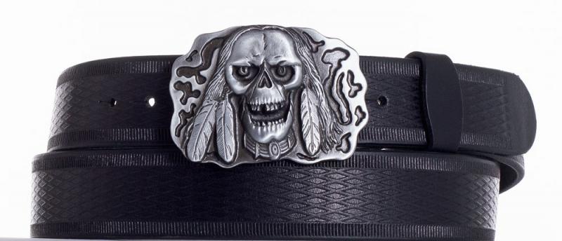 Kožené opasky - Kožený pásek lebka vr