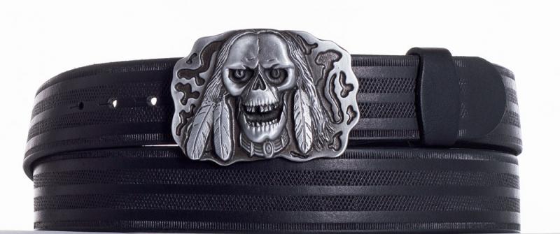 Kožené opasky - Kožený pásek lebka pr