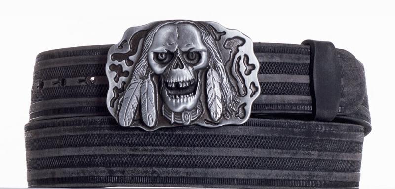 Kožené opasky - Kožený pásek lebka prb