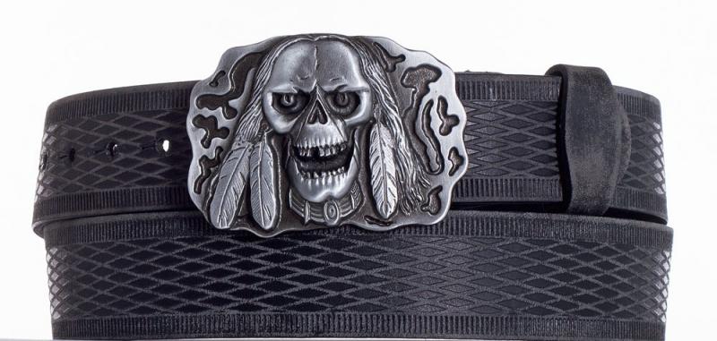 Kožené opasky - Kožený pásek lebka vrb