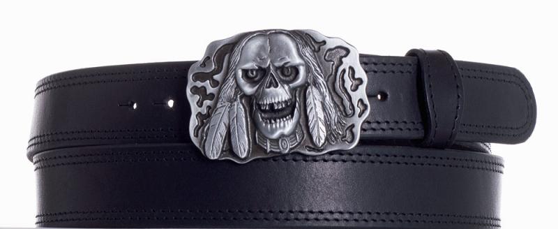 Kožené opasky - Kožený pásek lebka ob2č