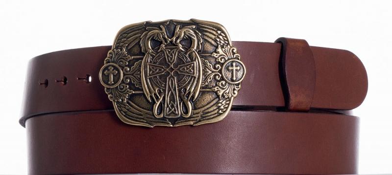 Kožené opasky - Hnědý kožený pásek Draci