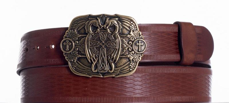 Kožené opasky - Hnědý kožený pásek Draci vr