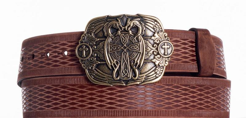 Kožené opasky - Hnědý kožený pásek Draci vrb