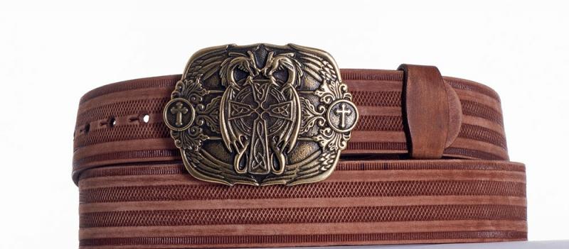 Kožené opasky - Hnědý kožený pásek Draci prb