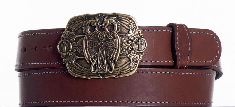 Kožené opasky - Hnědý kožený pásek Draci obš