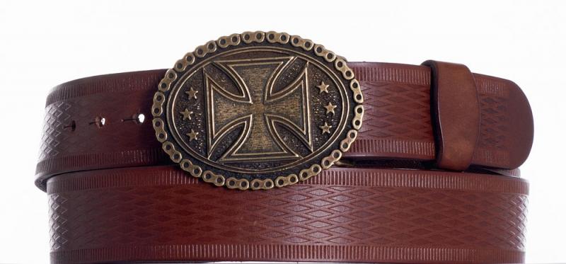 Kožené opasky - Kožený opasek kříž vr